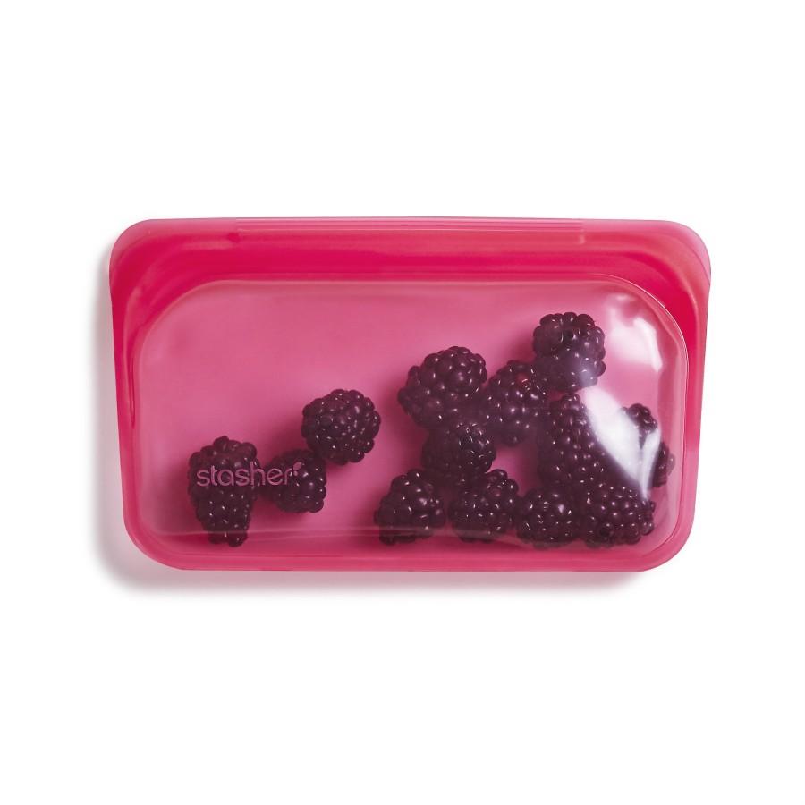 Reusable Silicone Snack Bag  Raspberry
