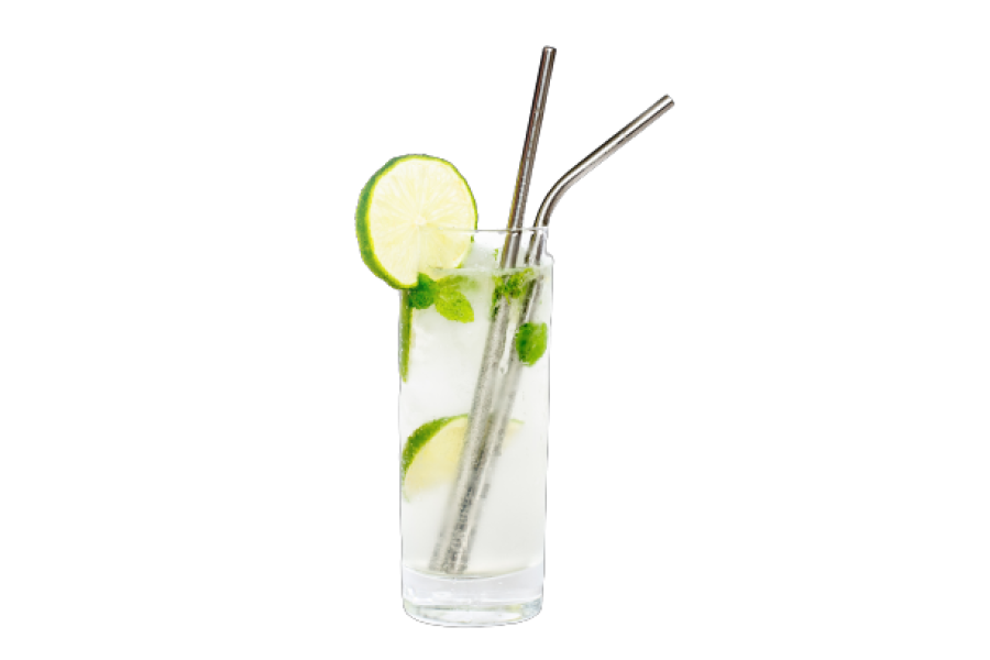 Reusable steel straw set