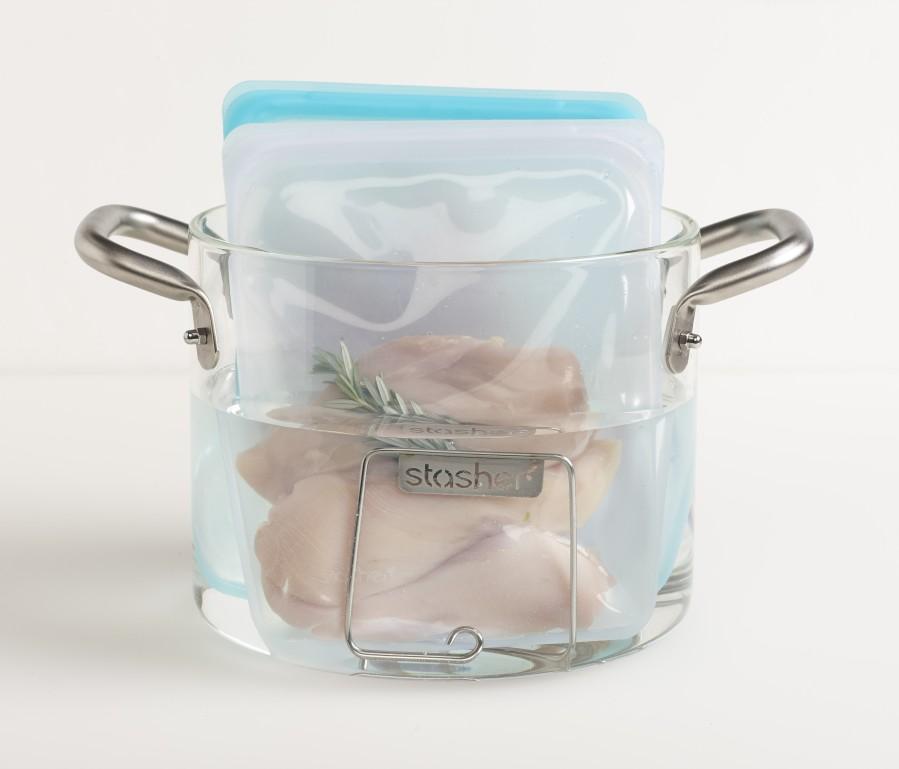 Reusable Silicone Half-Gallon Bag  Aqua