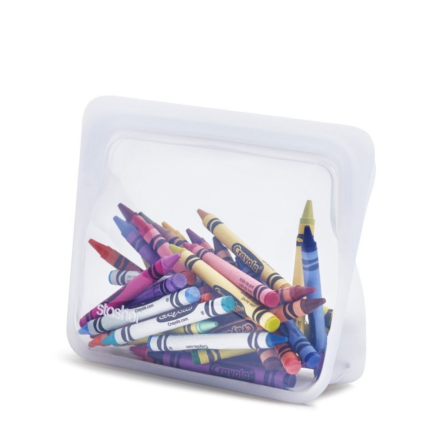 Reusable silicone stand-up mini clear bag
