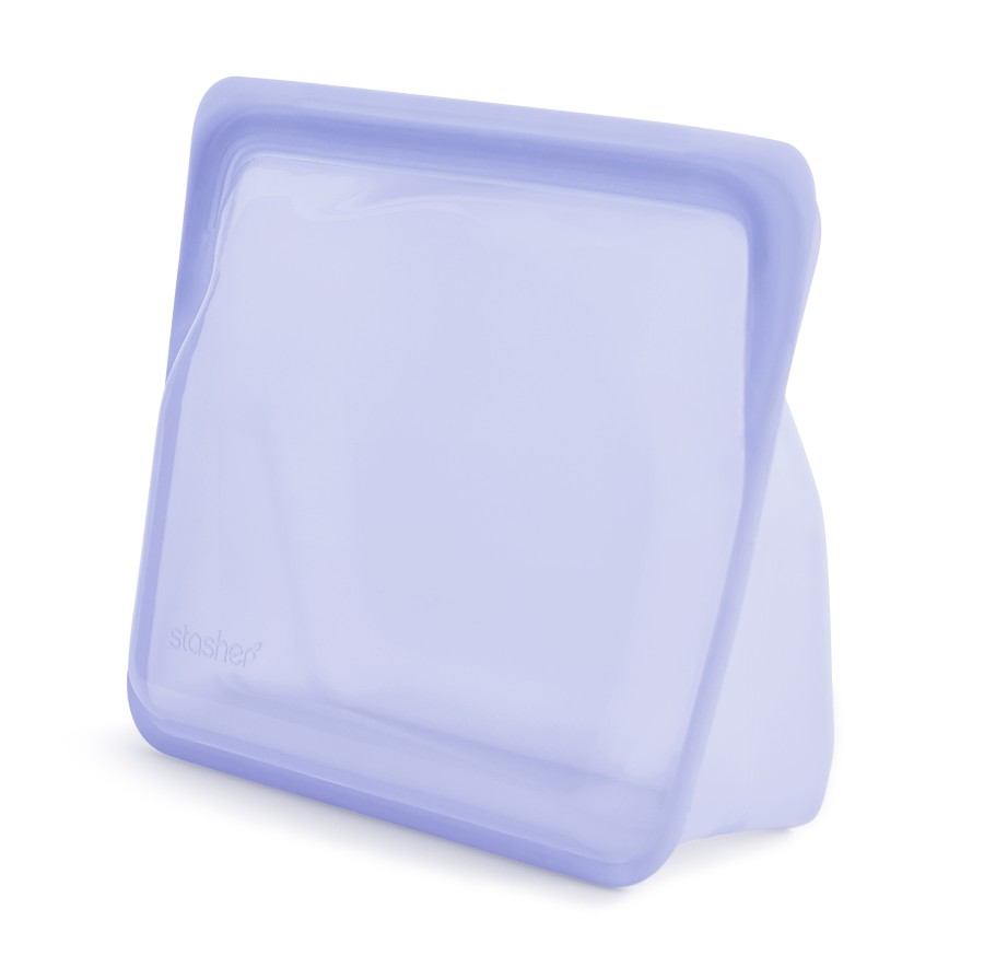 Reusable silicone stand-up amethyst bag