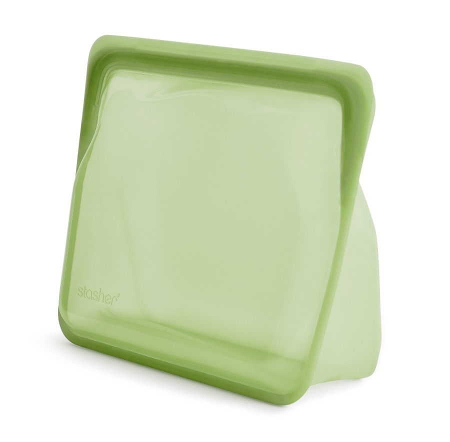 Reusable silicone stand-up green bag
