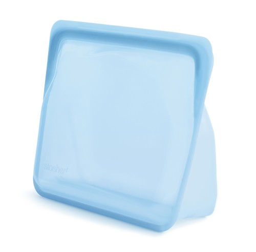 Reusable silicone stand-up blue bag