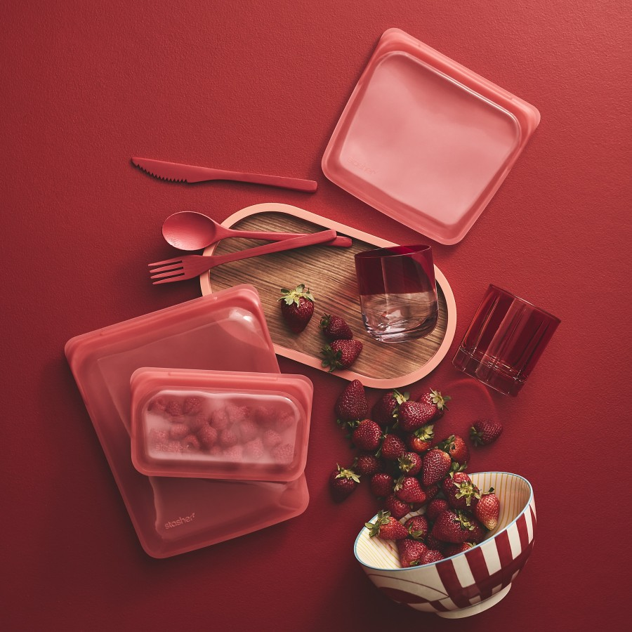 Reusable Silicone Sandwich Bag Red