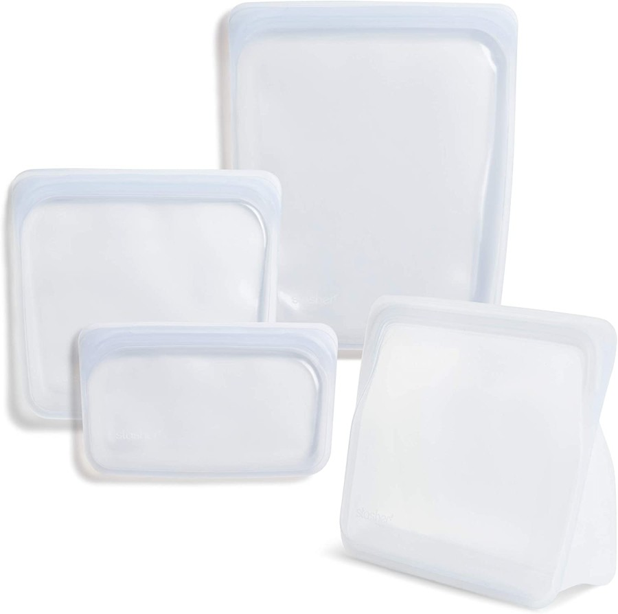Stasher 100% Silicone Food Grade Reusable Storage Bag, Clear (Sandwich + Snack + 1/2 Gallon + Stand-Up Mid)